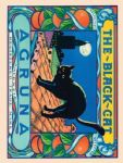 Shabby Vintage Chic Black Cat Agruna Metal Steel Sign Plaque